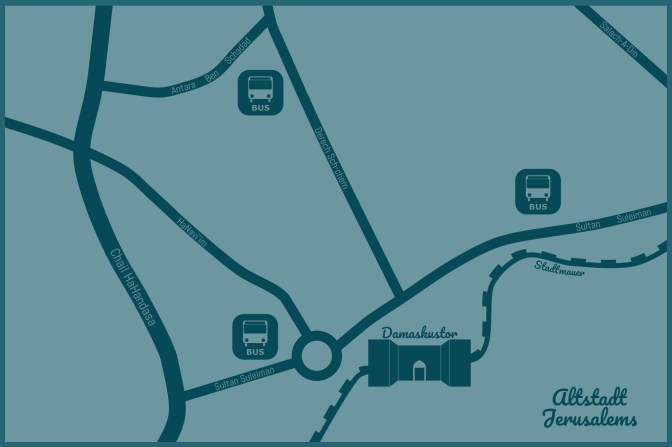 Grafik Arabische Busbahnhöfe in Jerusalem