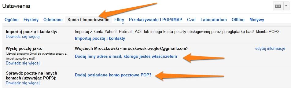 Importowanie kont do Gmail 2