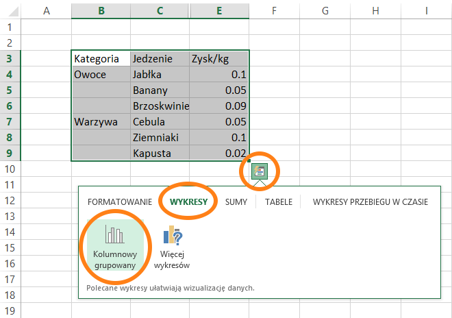filtrowanie wykresów w Excelu 2