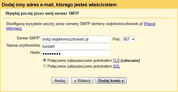 Importowanie kont do Gmail 4