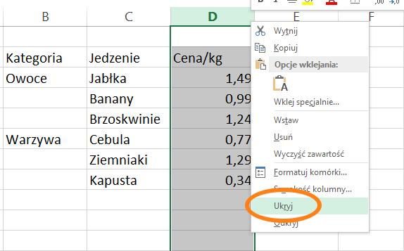 filtrowanie wykresów w Excelu 4