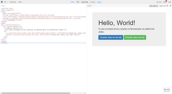 JSBin — wygląd i kod strony