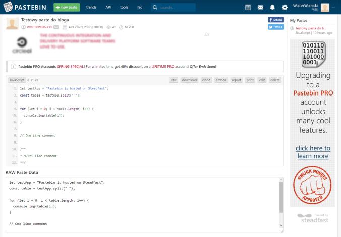 Pastebin — wygląd strony, kod pliku