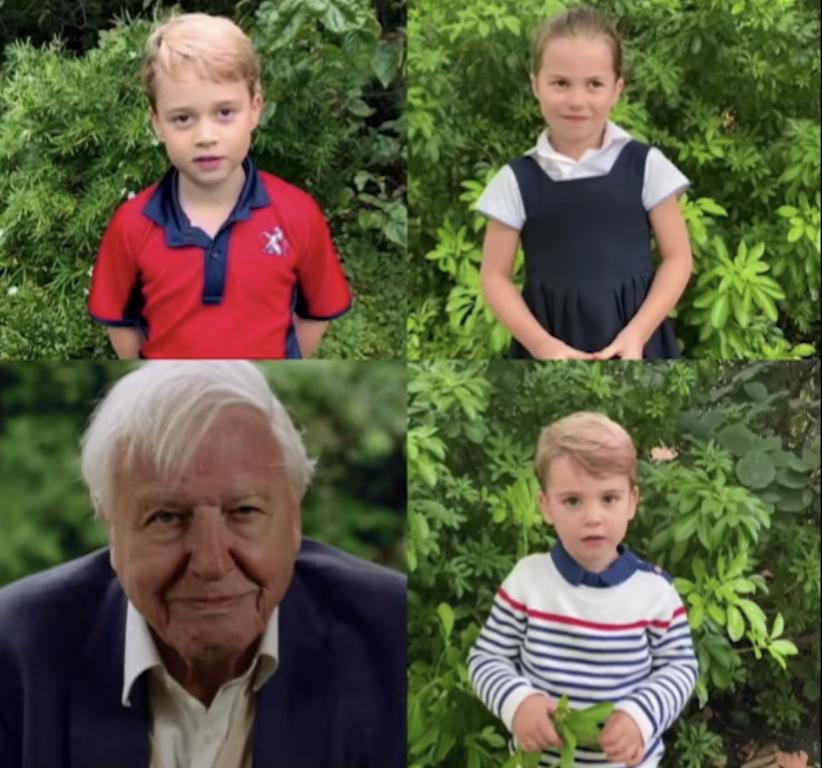 Los hijos de Kate y William interrogan a Sir David Attenborough sobre el planeta