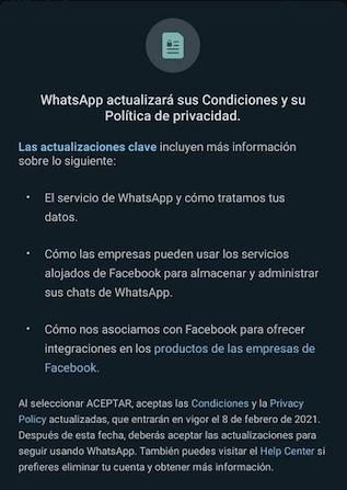 nuevas políticas Whatsapp