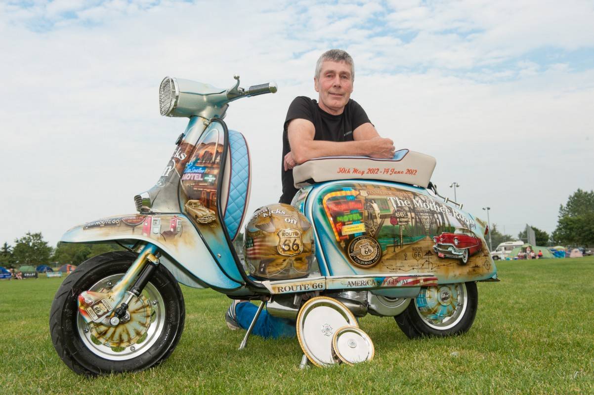 Archie Moore who rode off with the Rich Cousins award for best in show for his Route 66 themed Lambretta.