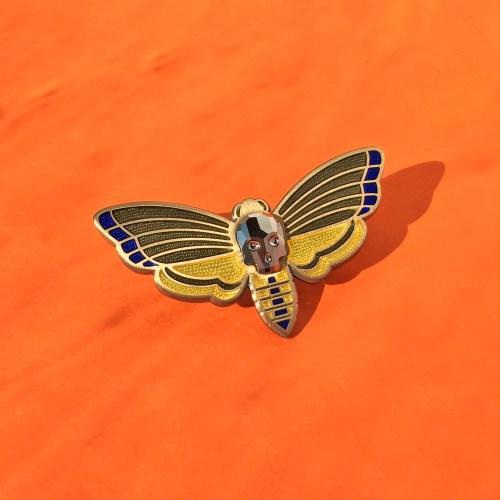 Death's Head Moth Enamel Pin