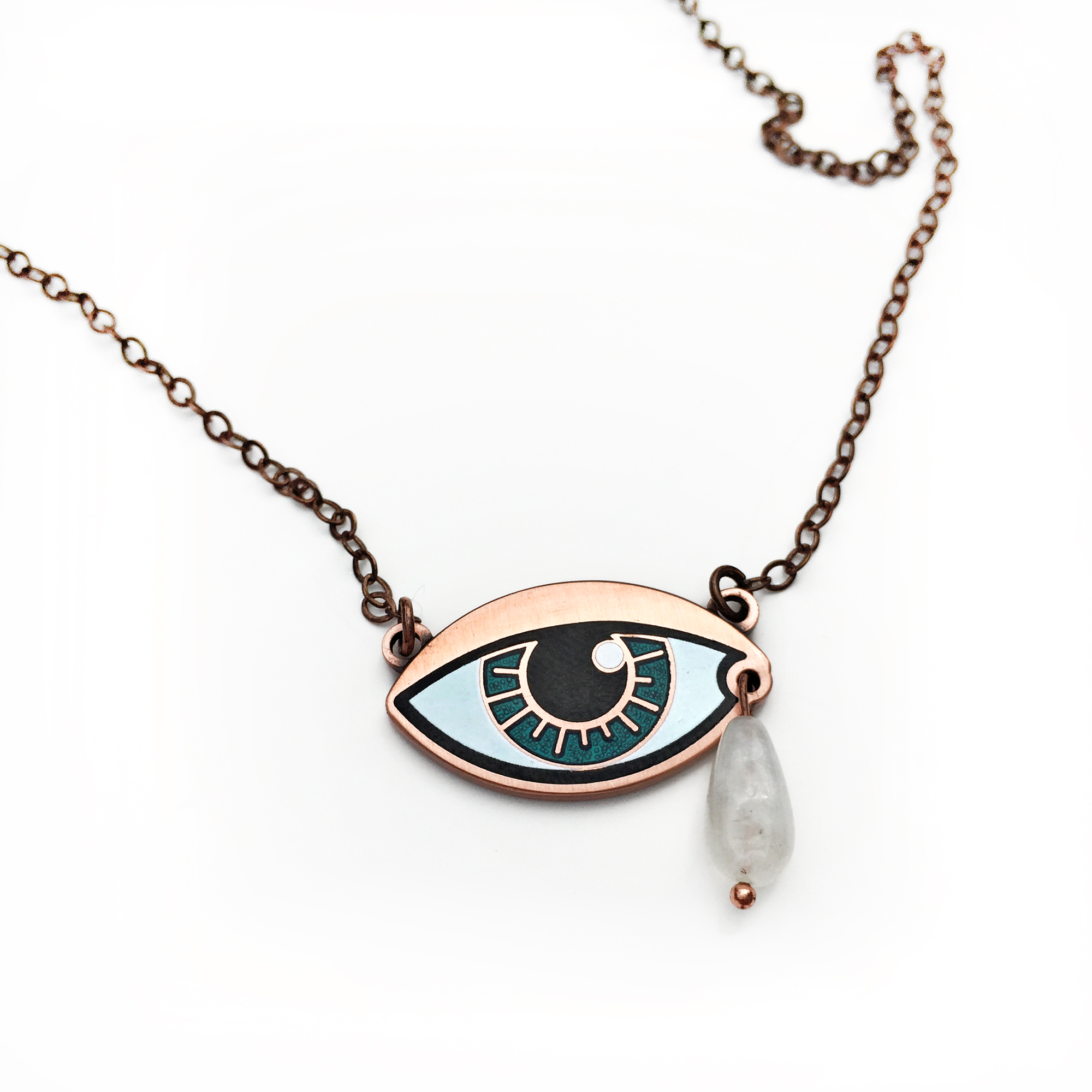 Eye necklace with moonstone teardrop