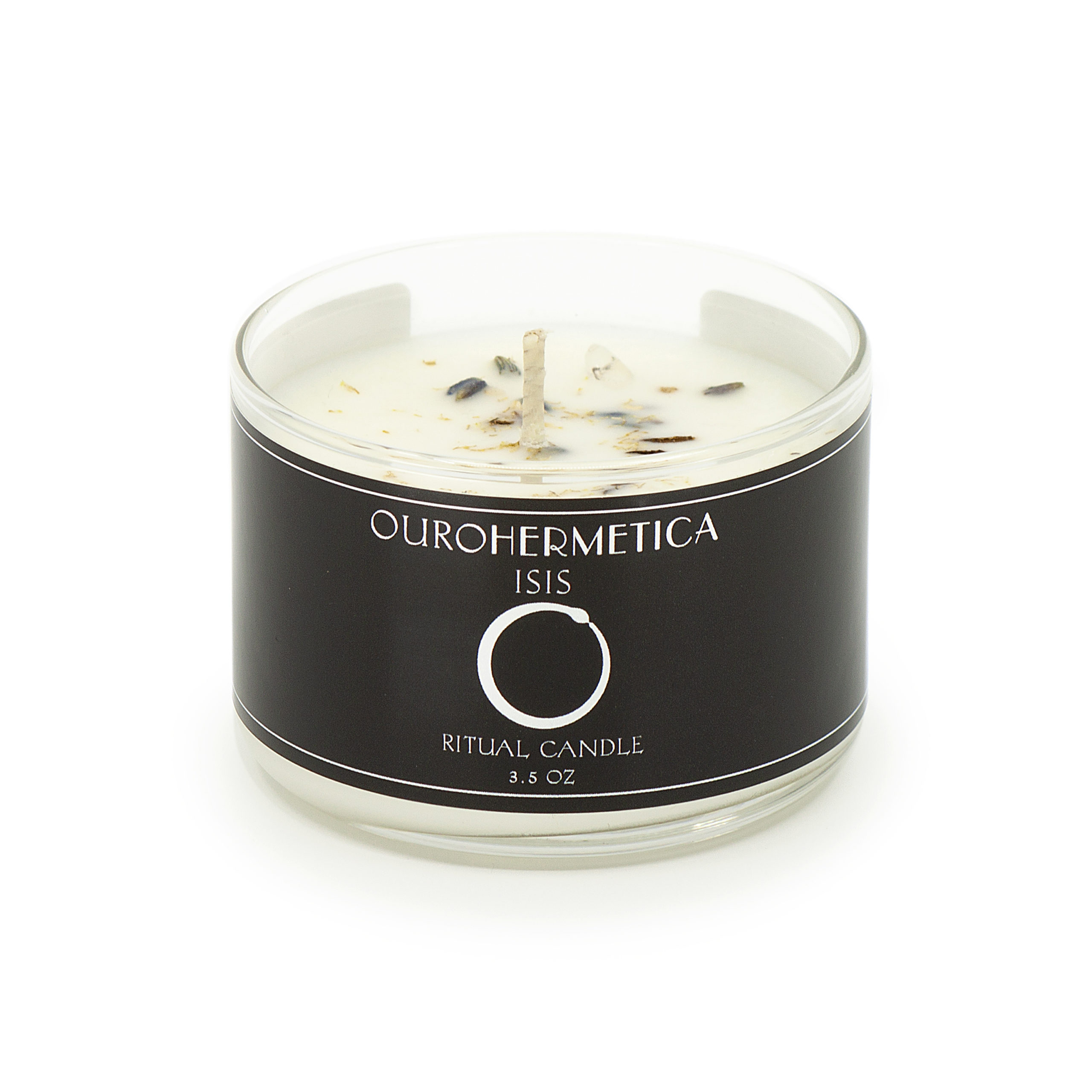 3.6 ounce candle in clear glass jar with black OuroHermetica label with white ouroboros icon
