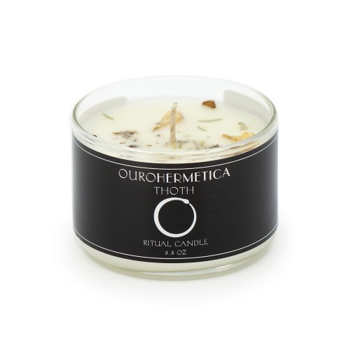 3.6 ounce white candle in clear jar with black OuroHermetica label with ouroboros icon