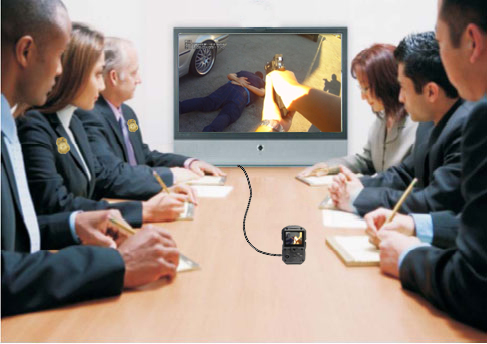 connect your wolfcom 3rd eye police body worn camera to a tv with an hdmi cable