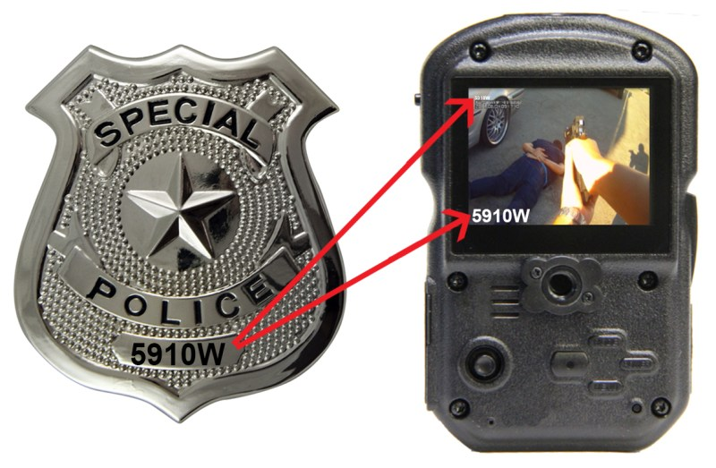wolfcom 3rd eye police body camera displays badge number onto image and video files