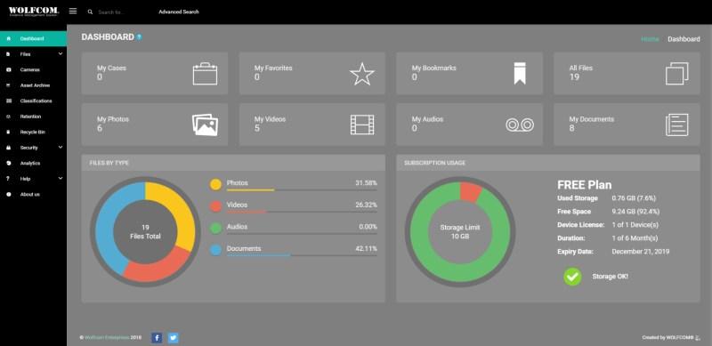wolfcom cloud evidence management system dashboard