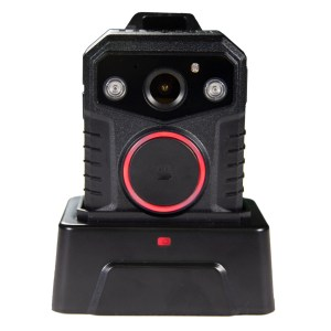 the wolfcom halo police body camera has an optional single docking station that's able to transfer data and charge one Halo body camera at a time