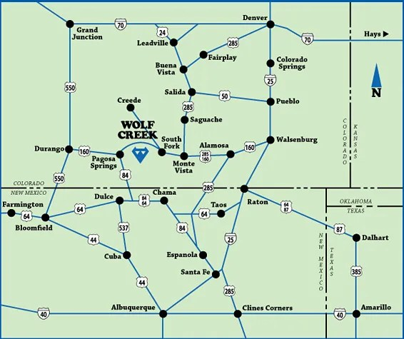 Wolf Creek vicinity map