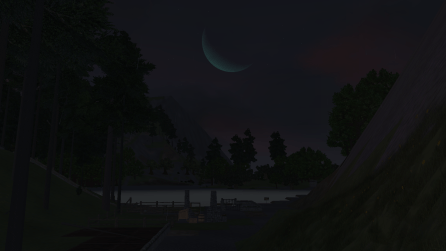 Moonlit night overlooking the future location of the workshop (see the pile of items in the bottom center)