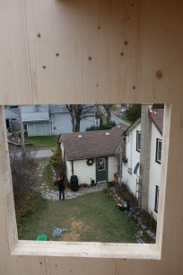 ...and the old house (and Kayo) seen through the gable end window opening