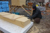 Cutting the wood fibre insulation panels