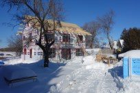 The site in sun and snow