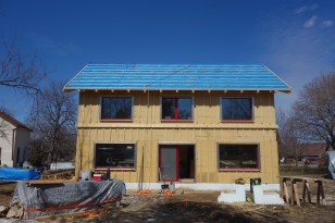 The South face is ready for roofing and siding