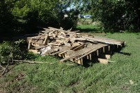 The old deck in a pile