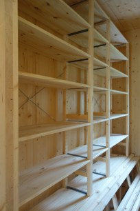 Assembled but unfixed 'Ivar' shelving from Ikea in the pantry