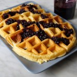 Fluffy Waffles with Homemade blueberry syrup