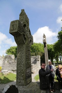 Wolfgang Lolies Tour Guide at the Muiredach Cross, Monasterboice
