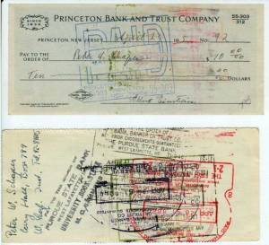1951 Check to Peter Schaper