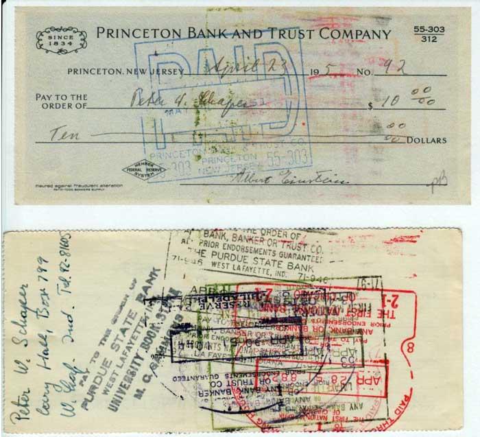 1951 Check to Peter Schaper