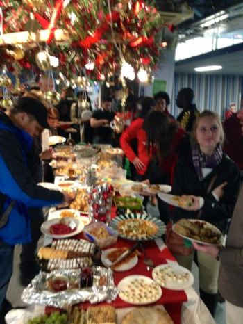 Food food food at the Christmas party!