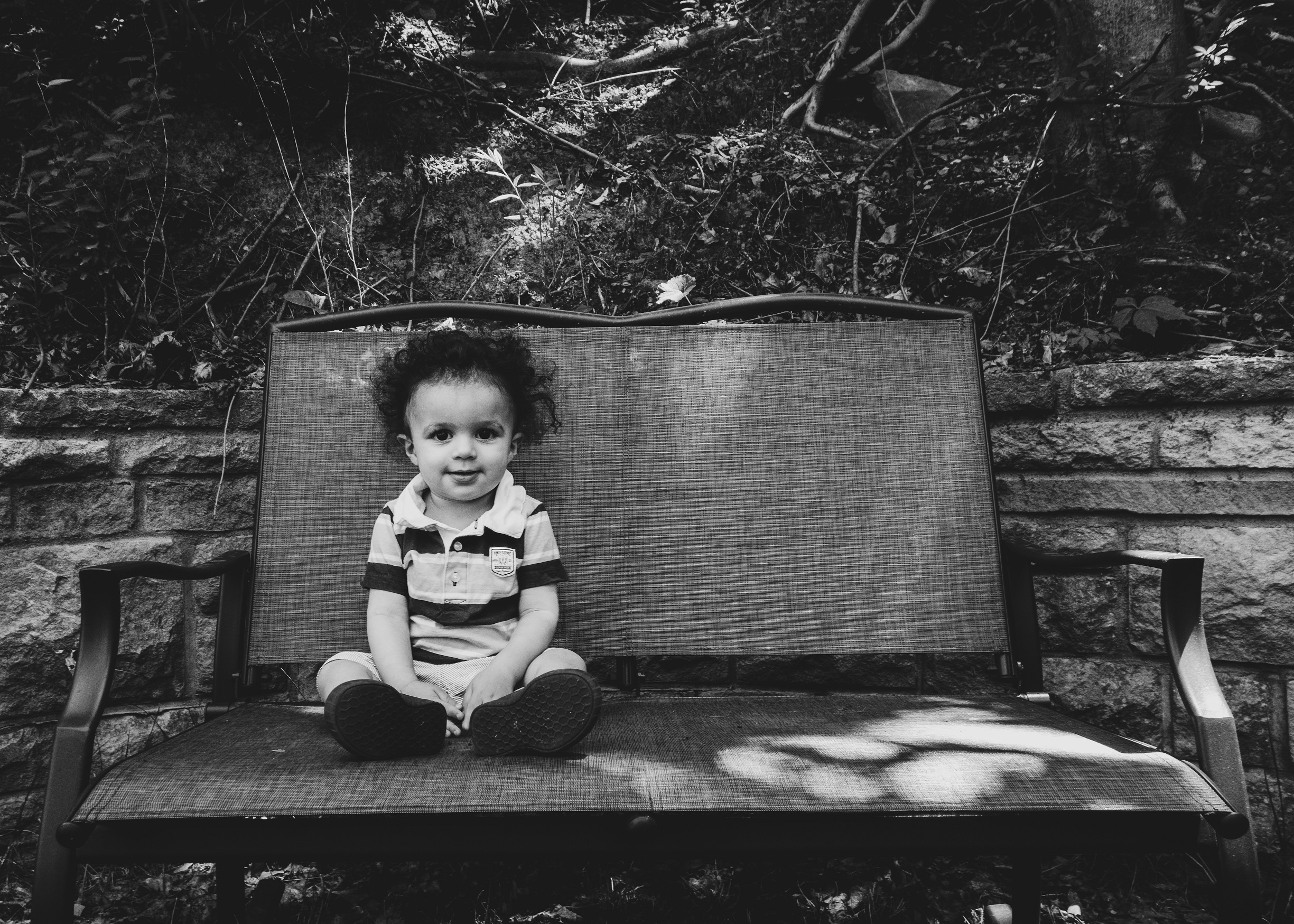 Toddler in black and white