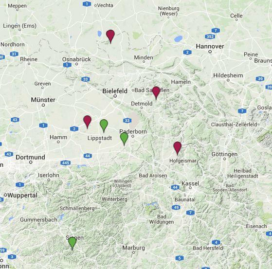 Wolfsnachweise in NRW (Quelle: Landesfachausschuss Wolf in NRW (NABU)