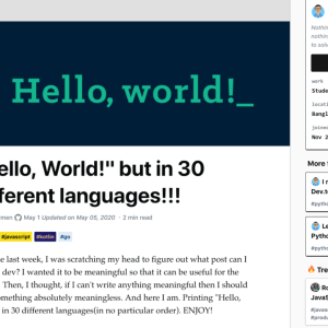 30 farklı dilde Hello, World!