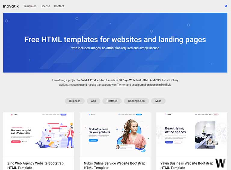 Free HTML templates for websites and landing pages