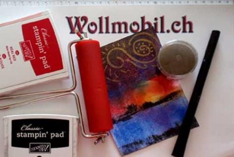Anwendungsbeispiel Stampin Up Stempelkissen + Farbwalze