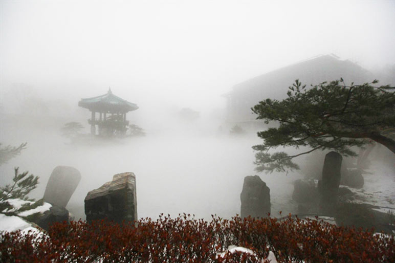 Dense fog covering the Wolmyeongdong lake and pavilion