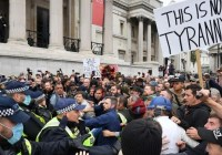 Covid protest Brytyjczyków