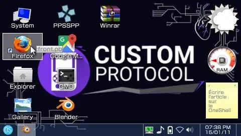 OneShell's Main menu - screenshot CustomProtocol