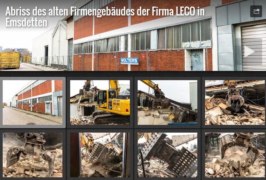 Abriss des alten Firmengebäudes der Firma LECO in Emsdetten