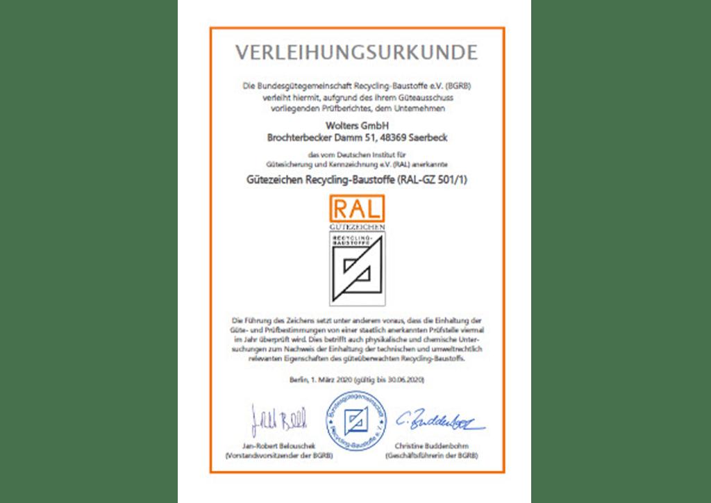 Bundesgütegemeinschaft verleiht Urkunde