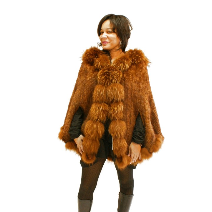 Hooded Knit Whiskey Mink Cape