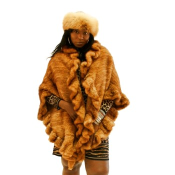 Long Knitted Whiskey Mink Cape 017279