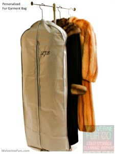 fur garment bag with monogram