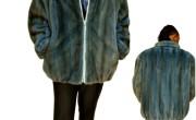 Man's blue mink bomber jacket