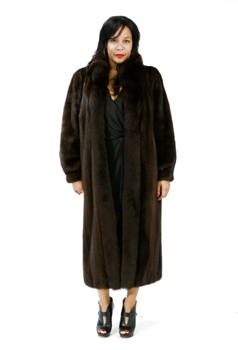 Plus Size Mink Coat Fox Trim 017531