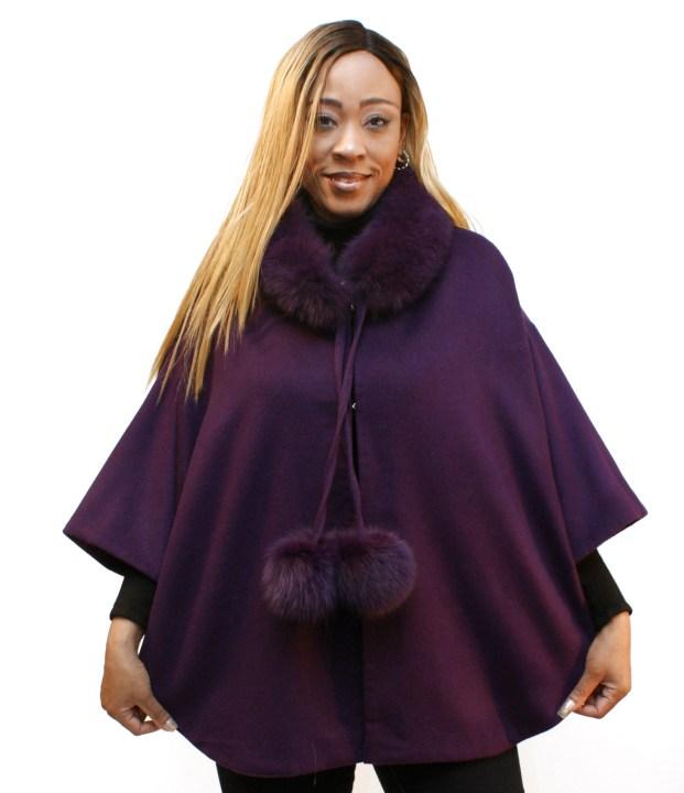 Purple Cashmere Cape W/Fox