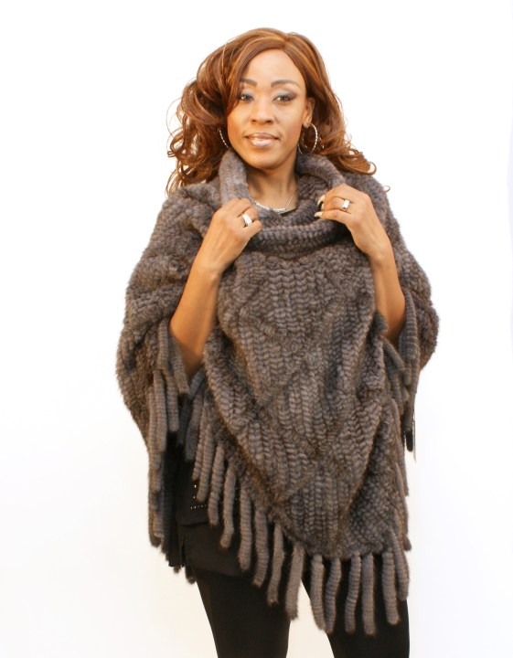 Knitted Blue Iris Mink Poncho