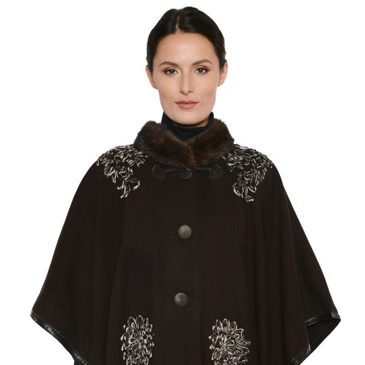 Cashmere Cape Mink/Silk Trim