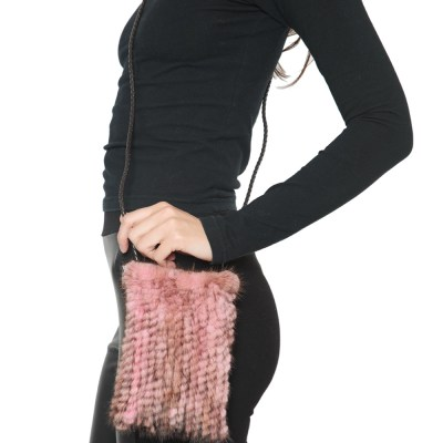Knitted Mink Cell Pouch-Pink